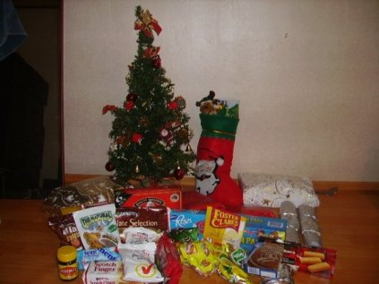A Christmas tree surrounded by presents and food from home