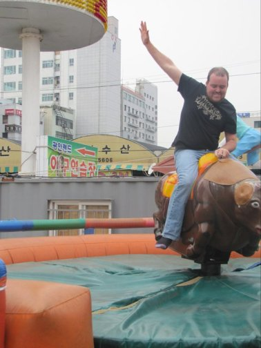 Riding a bull in Korea