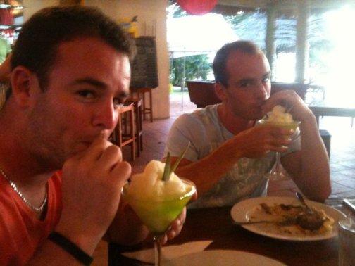 The boys enjoying some fruity cocktails at Mango Bay, Fiji