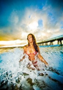 Beautiful girl in the ocean