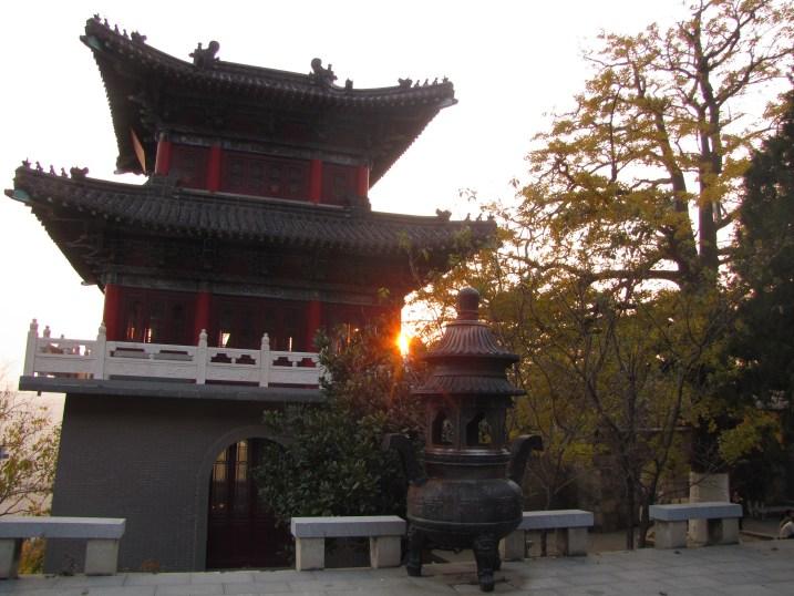 Sun set behind a pagoda