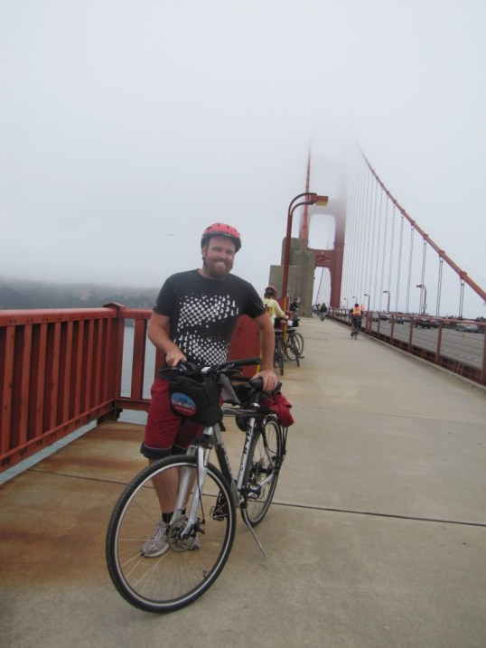Standing on the Golden Gate Bridge pretending I'm not freezing.