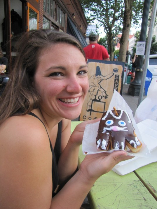 Heather is ecstatic to be holding the titular 'voodoo' donut. Delish!