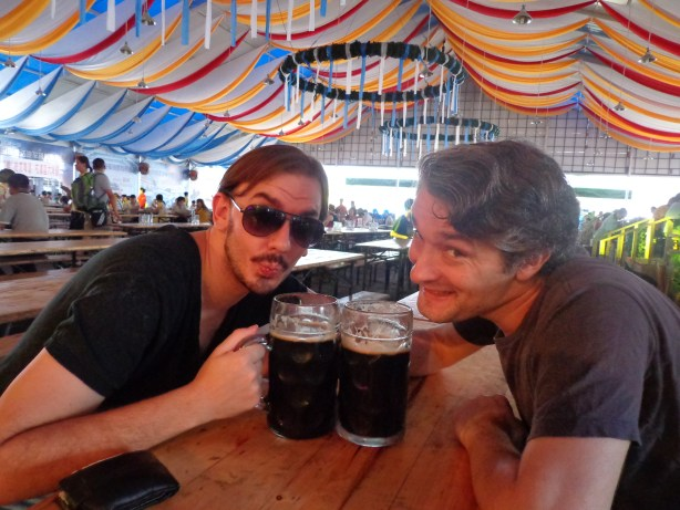 Byron and James enjoy the first of many beers at the Qingdao International Beer Festival