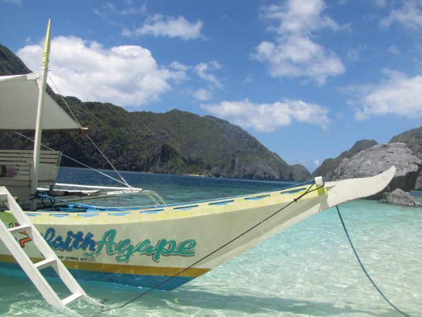 Our boat, the Faith Agape, waits for us at our own little slice of paradise in El Nido