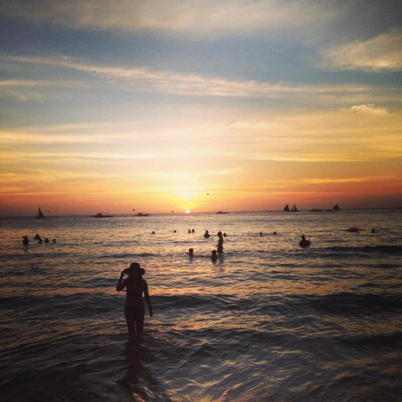 The sun sets on Boracay. There are no PG rated images from our nights.