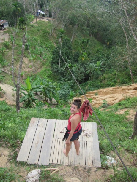 The world's dodgiest zipline on Koh Phangan. Your brake was a stick!