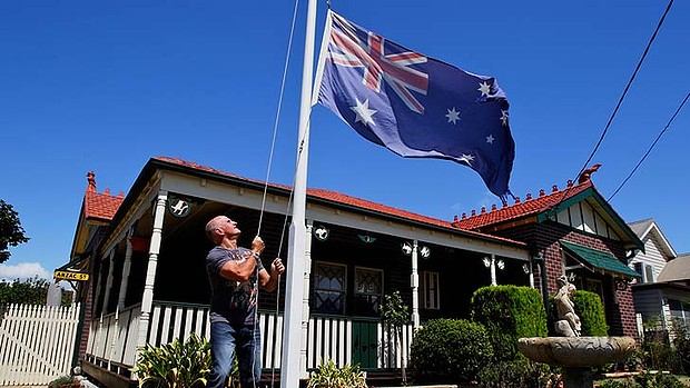 Flying the Aussie flag with pride is a rare sight.