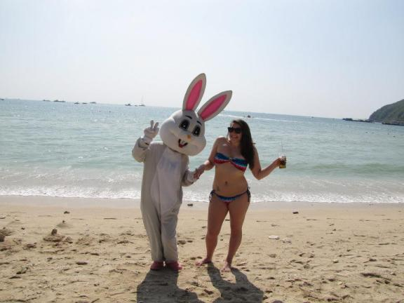 The Easter Bunny on a beach on Christmas Day because China.