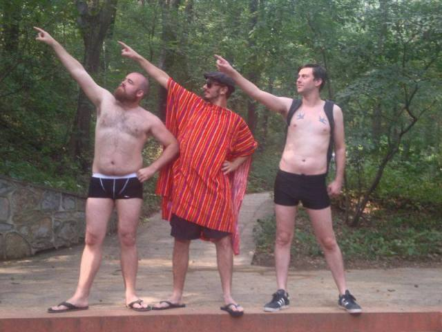 My friends and I rocking our Adventure Underwear at Purple Glow Lake on Purple Mountain.