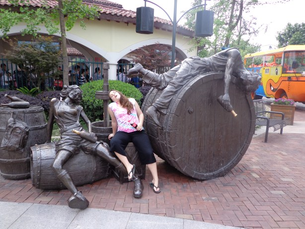 A rather odd set of drunk statues.