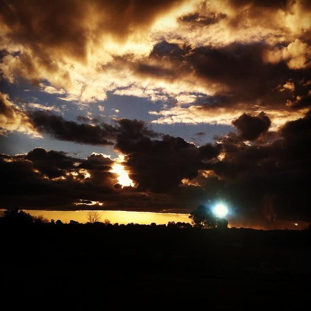 The sun sets over Uralla as the train rolls on towards Armidale.