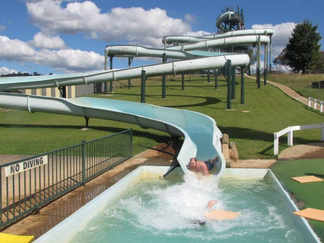 The towering water slide at Green Valley Farm is heaven on a hot summer day.
