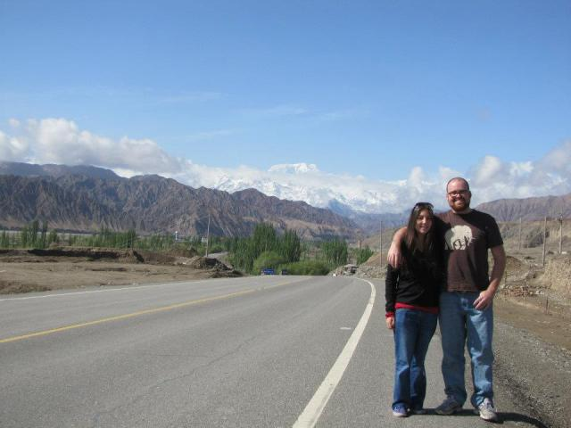 My co-worker and I posing along the Karakorum Highway in 2012.
