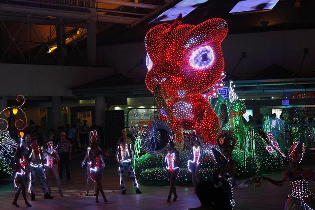 The night parade sees plenty of illuminated dinosaurs roaming the streets.