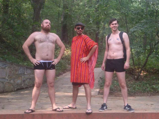 I model my Adventure Underwear at Purple Glow Lake in Nanjing last year. My friends model their own unique fashion too.