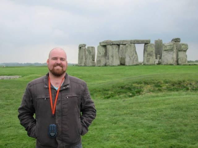 man at stonehenge