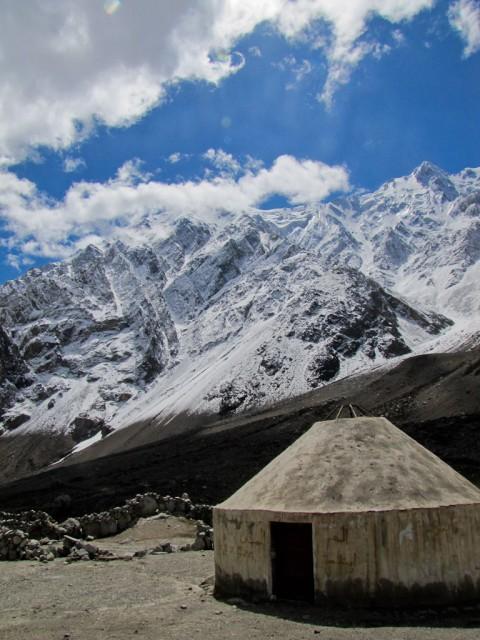 A yurt in the mountains along the Karakorum HIghway.