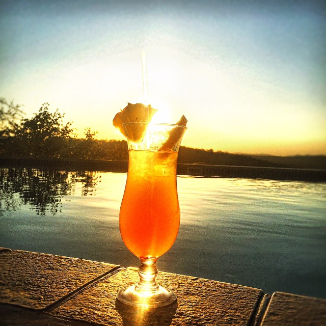 My delicious Namibia Sunrise enjoyed by the pool.