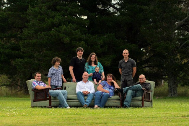 Family photo couch field