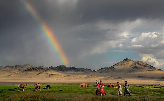 mongolia steppe rainbow