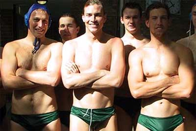 Water polo team in green speedos.