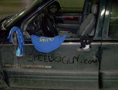 Speedos on a car.