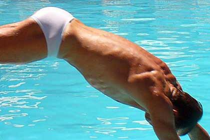 White speedo bum
