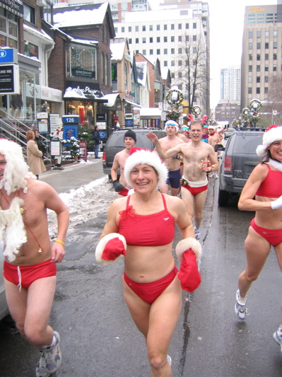 Red speedos on the Toronto Santa Speedo Run