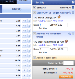 SBOBET betting slip