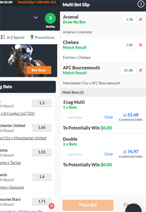 TopBetta multi betting slip