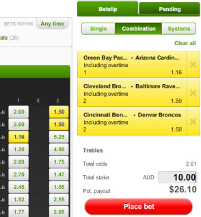 Unibet betting slip