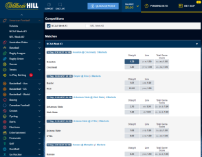 William Hill tablet display