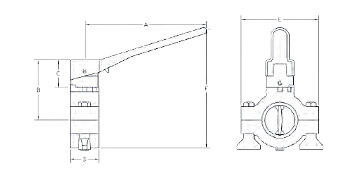 Dixon Sanitary B5102 Series Butterfly Valve w/ Pull Handle