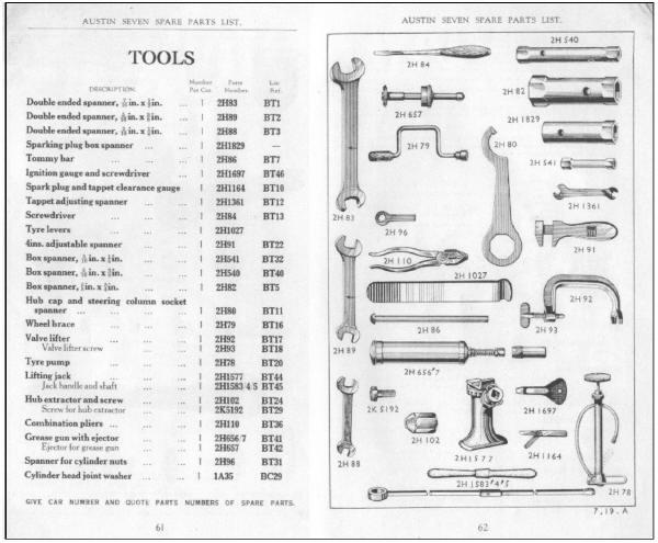 Austin Seven Tool Kit