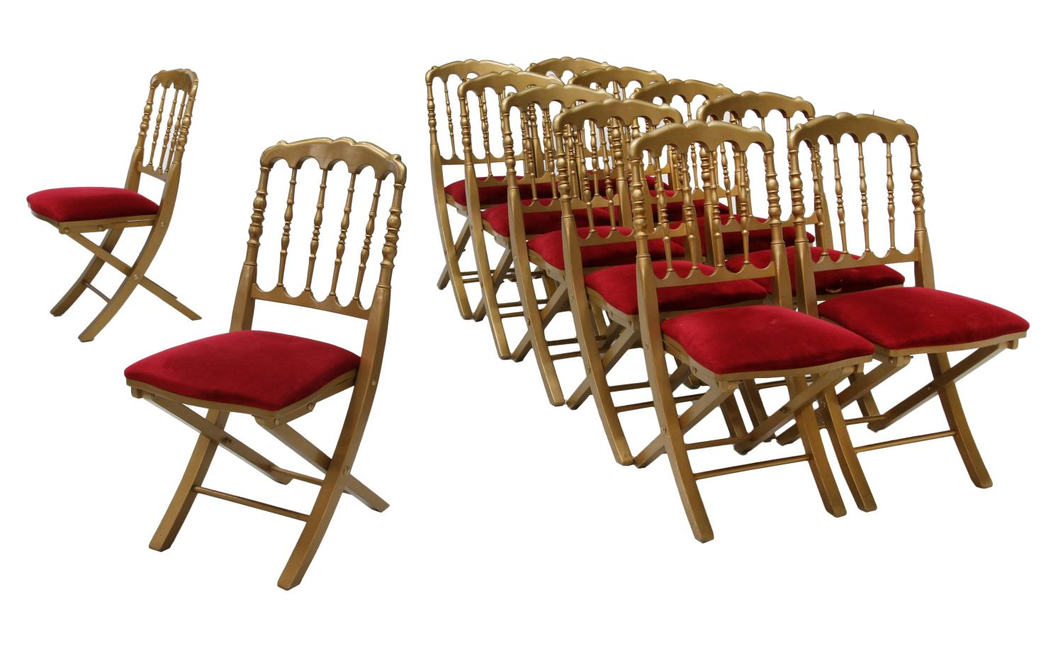 folding chair auction antique rocking chairs for sale 12 hotel aiglon gilt spindled important