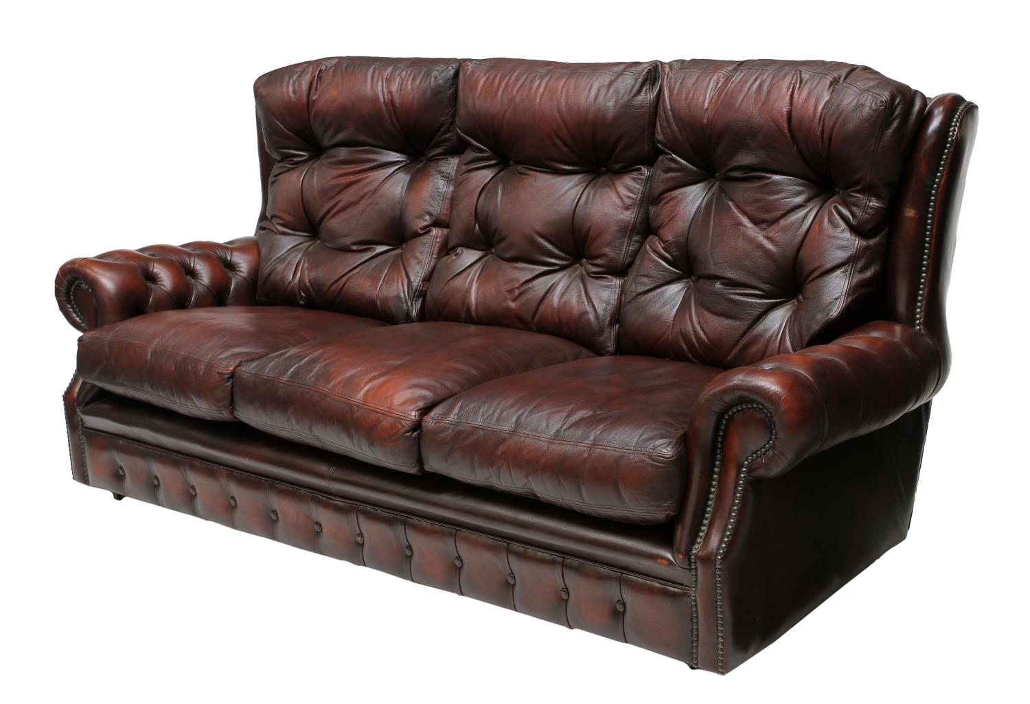 oxblood red chesterfield sofa difference between settee couch leather tufted fantastic