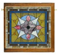 STAINED GLASS WINDOW, FLORAL AND STARBURST DESIGN - Winter ...