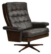 DANISH MID-CENTURY MODERN LEATHER SWIVEL CHAIR - March ...