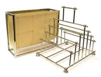 (2) CONTEMPORARY MAGAZINE RACKS, CHROME & LEATHER