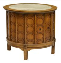 MID-CENTURY MODERN TRAVERTINE TOP DRUM SIDE TABLE - April ...