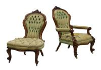 (2) VICTORIAN LADIES & GENTLEMAN'S PARLOR CHAIRS - April ...