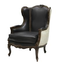 LOUIS XV STYLE LEATHER & COWHIDE WINGBACK CHAIR - June ...