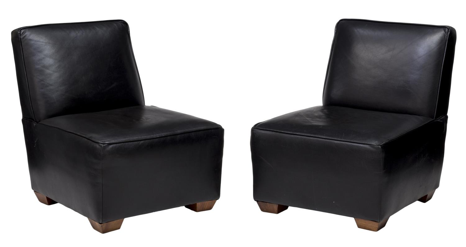 2 KLAUSSNER ARMLESS BLACK LEATHER CHAIRS  EXCITING