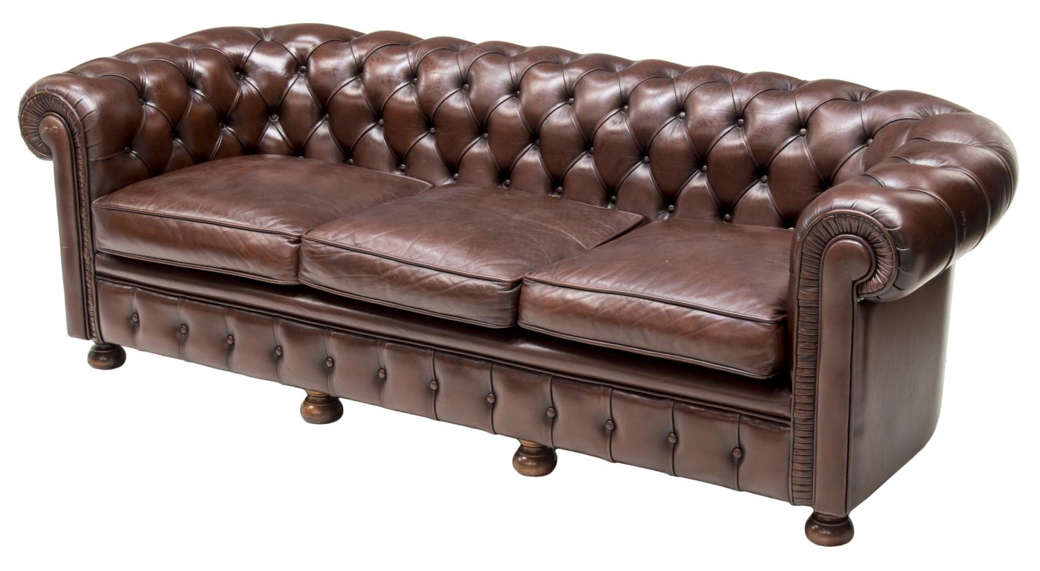 brown chesterfield sofa twin sleeper bed sheet set buttoned leather the crier