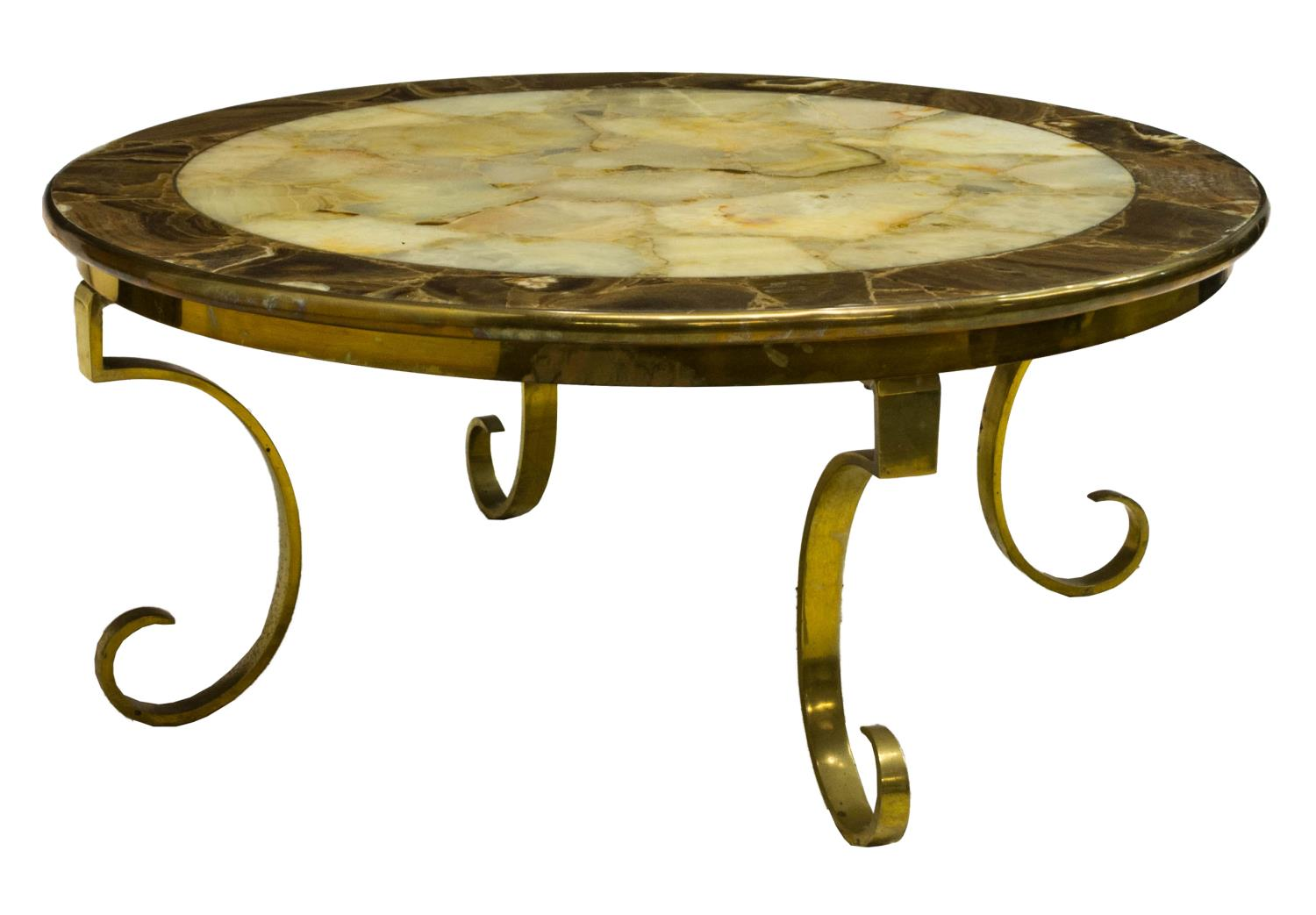 ONYX AND BRASS CIRCULAR COFFEE TABLE, 20TH C