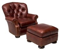 (2) BROWN LEATHER TUFTED CLUB CHAIR & OTTOMAN