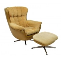 (2) OVERMAN STYLE EGG CHAIR & OTTOMAN