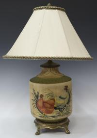 PAINTED CERAMIC CHICKEN & ROOSTER TABLE LAMP - LUXURY ...