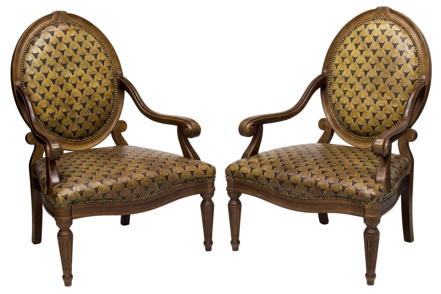 hickory chair louis xvi armless armchairs uk pair style leather longhorn chairs luxury